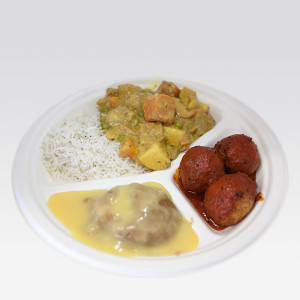 Govindas Feast Combo (Rice, vegetable curry, kofta, chutney, halava & custard)