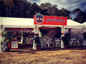 White marquee decorated with Indian-style hangings completes the Govinda's mobile restaurant